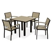 POLYWOOD® Euro 5-Piece Textured Outdoor Dining Set in Black/Sand
