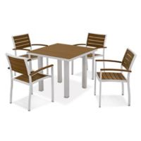 POLYWOOD® Euro 5-Piece Textured Outdoor Dining Set in Silver/Teak