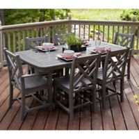 POLYWOOD® Chippendale 7-Piece Outdoor Dining Set in Slate Grey