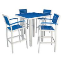 POLYWOOD® Euro 5-Piece Bar Set in White/Blue
