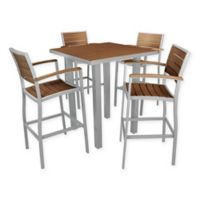 POLYWOOD® Euro 5-Piece Bar Set in Teak/Silver