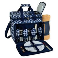 Picnic at Ascot 4-Person Picnic Cooler with Blanket in Blue/White