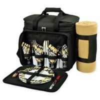 Picnic at Ascot 4-Person Picnic Cooler with Blanket in Black/Yellow