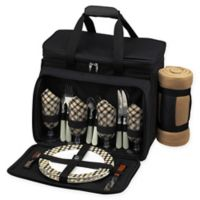 Picnic at Ascot 4-Person Picnic Cooler with Blanket in Black
