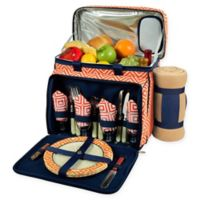 Picnic at Ascot 4-Person Picnic Cooler with Blanket in Orange/Navy
