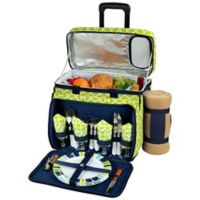 Picnic at Ascot 4-Person Wheeled Picnic Cooler with Blanket in Blue/Green