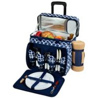 Picnic at Ascot 4-Person Wheeled Picnic Cooler with Blanket in Blue/White