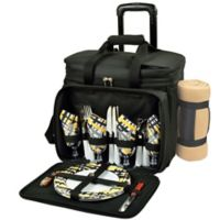 Picnic at Ascot 4-Person Wheeled Picnic Cooler with Blanket in Black/Yellow