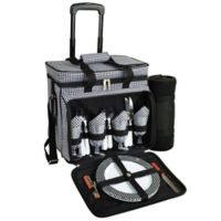 Picnic at Ascot 4-Person Wheeled Picnic Cooler with Blanket in Black/White