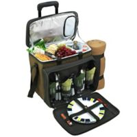Picnic at Ascot 4-Person Wheeled Picnic Cooler with Blanket in Green