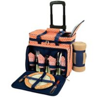 Picnic at Ascot 4-Person Wheeled Picnic Cooler with Blanket in Orange/Navy
