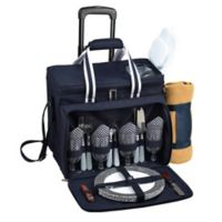 Picnic at Ascot 4-Person Wheeled Picnic Cooler with Blanket in Navy/White