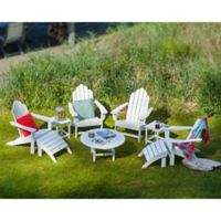POLYWOOD® 9-Piece Long Island Adirondack Outdoor Conversation Set in White