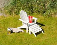 POLYWOOD® Long Island 2-Piece Outdoor Adirondack Chair Set in White