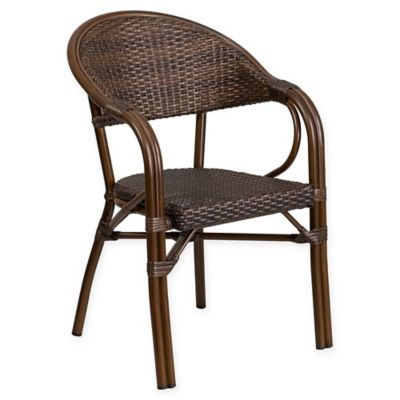 aluminum stackable patio chairs. Flash Furniture Rattan Patio Chair In Cocoa With Bamboo-Aluminum Frame Aluminum Stackable Patio Chairs