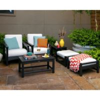 POLYWOOD® Club 6-Piece Conversation Set with Bird's Eye Cushions in Black/White