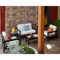 POLYWOOD® Club 5-Piece Conversation Set with Bird's Eye Cushions in Black/White