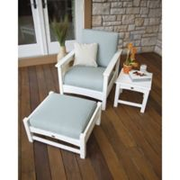 POLYWOOD® Club 3-Piece Conversation Set with Bird's Eye Cushions in Powder Blue/White