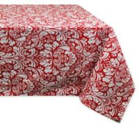 Design Imports Damask 60-Inch x 104-Inch Oblong Tablecloth in Red
