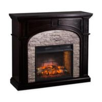 Southern Enterprises Tanaya Faux Stone Infrared Electric Fireplace in Ebony