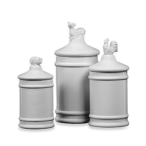 Dolomite canisters with lids set of 3 bed bath beyond for Bathroom containers with lids