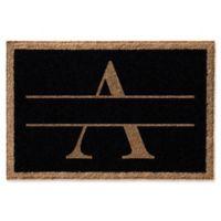 """Infinity Monogram Letter """"A"""" 2-Foot x 3-Foot Door Mat in Black"""