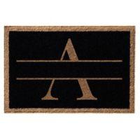 """Infinity Monogram Letter """"A"""" 3-Foot x 5-Foot Door Mat in Black"""