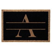"Infinity Monogram Letter ""A"" 3-Foot x 6-Foot Door Mat in Black"