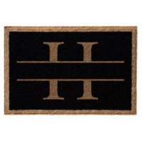 "Infinity Monogram Letter ""H"" 2' x 3' Door Mat in Black"