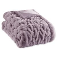 Madison Park Ruched Faux Fur Throw Blanket in Lavender