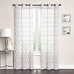 Newbury Embroidered Sheer 84-Inch Grommet Top Window Curtain Panel Pair in White/Grey