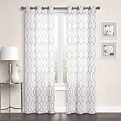 Product Image For Newbury Embroidered Sheer Grommet Top Window Curtain Panel Pair