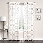 Newbury Embroidered Sheer 84-Inch Grommet Top Window Curtain Panel Pair in Ivory/Linen
