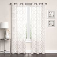 Newbury Embroidered Sheer 95-Inch Grommet Top Window Curtain Panel Pair in Ivory/Linen