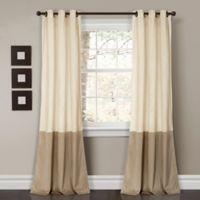 Prima Velvet Color Block Room Darkening Window Curtain Panel Pair in Ivory
