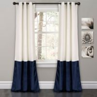 Prima Velvet Color Block Room Darkening Window Curtain Panel Pair in White