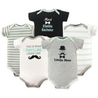 Luvable Friends® Size 9-12M 5-Pack Little Man Hanging Bodysuits in Grey/Black