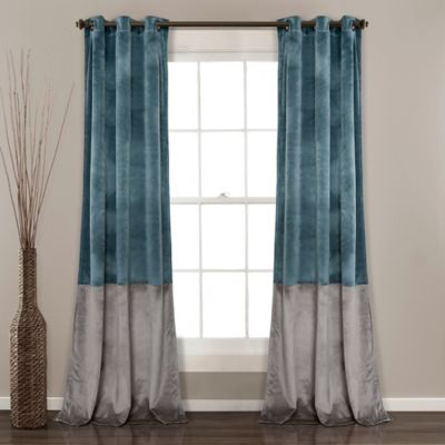 Lush Decor Prima Velvet Color Block Room Darkening Window Curtain Panel Pair In Slate Blue