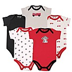 Luvable Friends Size 3-6M 5-Pack Fire Truck Short Sleeve Bodysuit in Red/Black