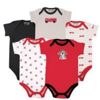 Luvable Friends Size 9-12M 5-Pack Fire Truck Short Sleeve Bodysuit in Red/Black