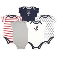 Luvable Friends® Size 9-12M 5-Pack Nautical Hanging Bodysuits in Navy/Red