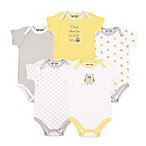 Luvable Friends® Size 12-18M 5-Pack Owl Hanging Bodysuits in Yellow