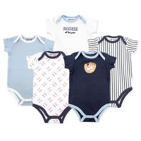 Luvable Friends Size 6-9M 5-Pack Baseball Short Sleeve Bodysuit