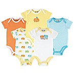 Luvable Friends® Size 0-3M 5-Pack Elephant Hanging Bodysuits in Yellow/Orange