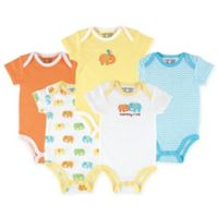 Luvable Friends® Size 9-12M 5-Pack Elephant Hanging Bodysuits in Yellow/Orange