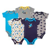 Luvable Friends® Size 9-12M 5-Pack Rocket Hanging Bodysuits in Navy/Blue
