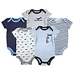 Luvable Friends® Size 6-9M 5-Pack Airplane Bodysuits in Blue/Grey