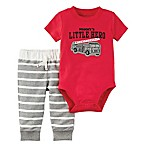 carter's® Size 3M 2-Piece  Mommy's Little Hero  Bodysuit and Pant Set in Red/Grey