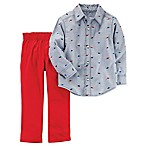 carter's® Newborn 2-Piece Long Sleeve Dino Chambray Shirt and Pant Set in Red
