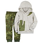 carter's® Size 3M 2-Piece Alligator Hoodie and Camo Jogger Set in Heather Grey